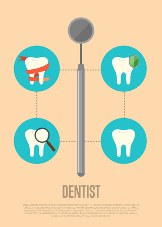 oral health: Dentist banner with dental mirror and teeth symbols. Dentistry vector illustration. Dental treatment concept. Tooth care and restoration, stomatology, orthodontics. Oral health care. Dentist office