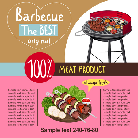 seasoned: Grilled meat assorted with vegetable overcoals on barbecue grill isolated on white background vector illustration