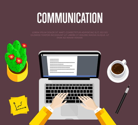 overhead: Communication concept. Top view office workspace, vector illustration. Overhead view of businessman working on laptop at office desk. Office workplace background with space for text.