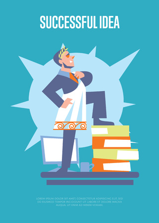 toga: Successful idea banner with businessman in roman toga and laurel wreath standing on stack of folders, isolated vector illustration on blue background. Business growth. Big boss character. Startup idea Illustration