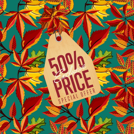 best ad: Autumn seasonal sale badge, vector illustration. Exclusive price, special offer label in vintage style on background of colorful autumn leaves. Autumnal discount template.