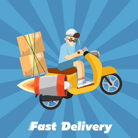 delivery boy: Delivery boy riding yellow scooter with jet engine and cardboard boxes isolated on striped blue background. Fast delivery banner, vector illustration. Motorcycle courier service.