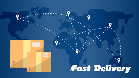 global logistics: Closed cardboard boxes on background of world map with routes. Fast delivery banner, vector illustration. Worldwide shipping and moving service. International postage concept. Global logistics