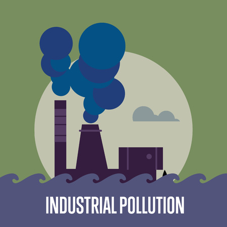 smokestack: Industrial pollution banner, vector illustration. Air pollution by smoke coming out of two factory chimneys. Environmental problems. Smoking factory concept. Heavy industry plant.