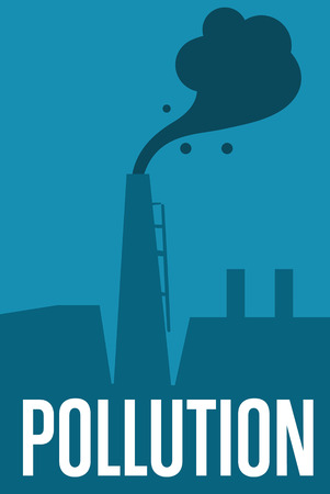 smokestack: Air pollution banner, vector illustration. Air pollution by smoke coming out of two factory chimneys. Environmental problems. Smoking factory concept. Heavy industry plant. Smokestack background