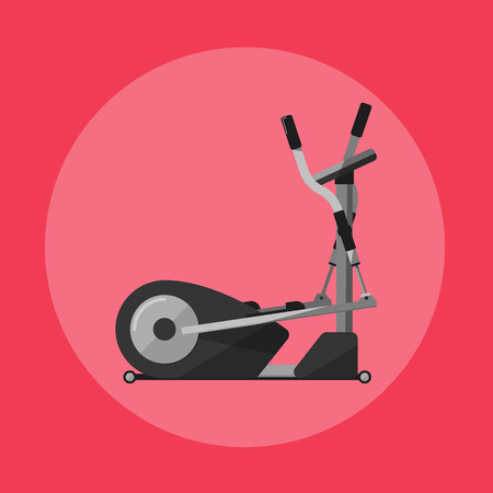 exercise machine: Vector illustration of gym sports equipment icon. Black elliptical cross trainer isolated on red background. Cardio training. Active sport lifestyle. Stationary exercise machine.