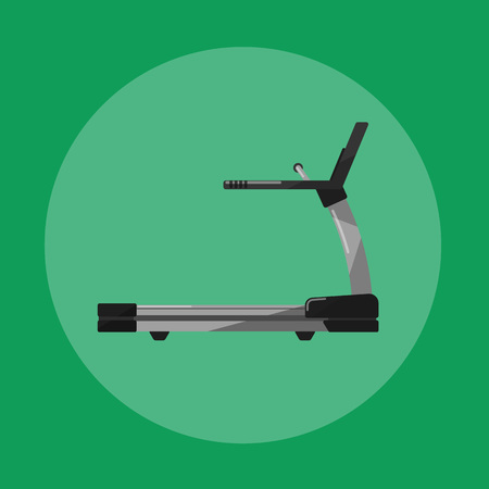 exercise machine: Vector illustration of gym sports equipment icon. Black treadmill isolated on green background. Cardio running training. Active sport lifestyle. Stationary exercise machine.