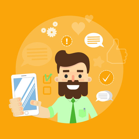 communication cartoon: Smiling cartoon man holding smartphone on yellow background with communication icons, vector illustration. Social media concept. Connecting people, chatting, international network, media app