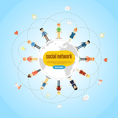 communicatio: Social network banner with group of people around globe on blue background, vector illustration. Teamwork concept. Wireless connect people around world. Communication technology. International network Illustration
