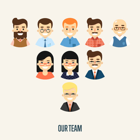 corporate hierarchy: Group of smiling male and female faces avatars on white background. Our team banner, vector illustration. Teamwork and business team concept. Concept of the coworking center. Corporate hierarchy. Illustration