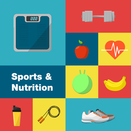 weigher: Sports and nutrition vector illustration icons set. Protein shaker, jump rope, sneakers, weigher, ball, fruit, sports bottle on color background. Exercise, diet, food, supplements, fitness symbols