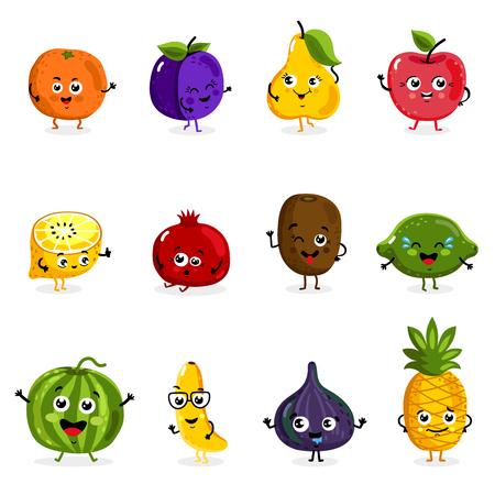 Dibujos animados frutas divertidos personajes aislados en fondo blanco ilustración vectorial. Divertido icono de la cara de la fruta.