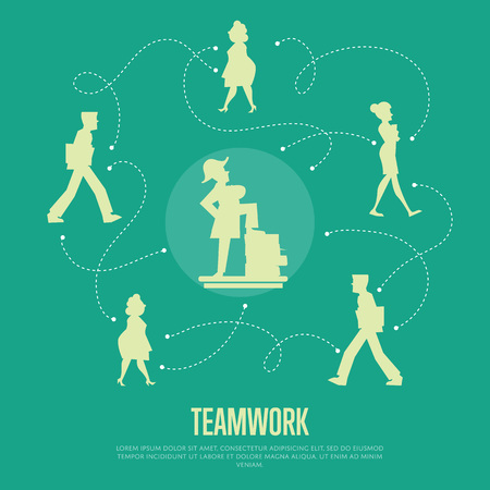 logical: Abstract teamwork banner with people silhouettes and logical connections between them, isolated vector illustration on green background. Office life. Business team work process concept