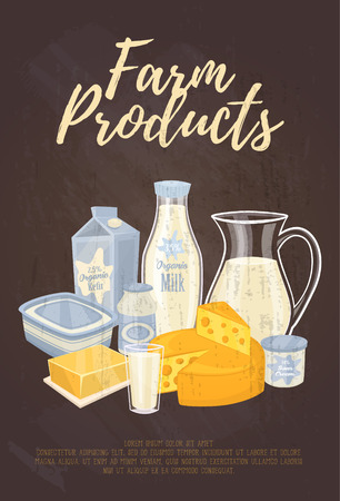 cottage cheese: Farm products banner with dairy assortment composition, vector illustration. Nutritious and healthy products. Healthy nutritious concept with cottage cheese, butter, milk and kefir