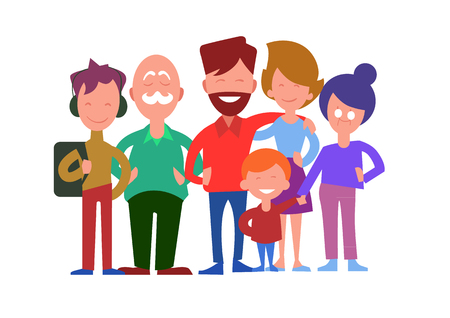 relatives: Family generations. Smiling father, mother, daughter, son, grandfather and grandmother standing in line iIsolated on white background vector illustration. Closest relatives. For family values concept