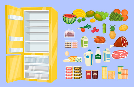 nutrients: Space organization in freezer. Variety daily products with opened fridge vector illustration isolated on blue background. Saving freshness of nutrients. Weekly supply. For household concept, store ad