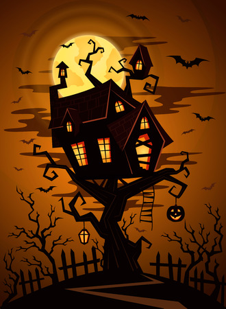 spooky forest: Halloween party background with silhouette of castle in mystic spooky forest at night. Castle on the tree on a background of the full moon. Night silhouettes of bats. Halloween night design concept. Illustration