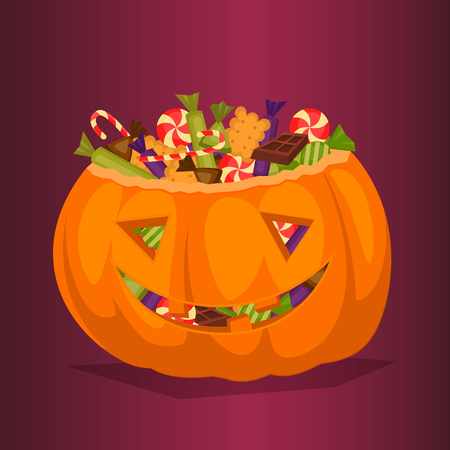 Halloween pumpkin full of candy treats. Cartoon pumpkin. Symbol of halloween design concept. All Hallows Evening. Cartoon vector illustration.