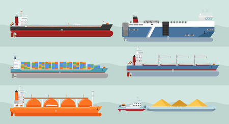 carriers: Set of cargo ships vectors. Flat design. Ferry, container, freighter, bulk, gas carriers, tugboat ships illustrations. Transatlantic carriage by merchant navy. For transport company ad, infographics Illustration