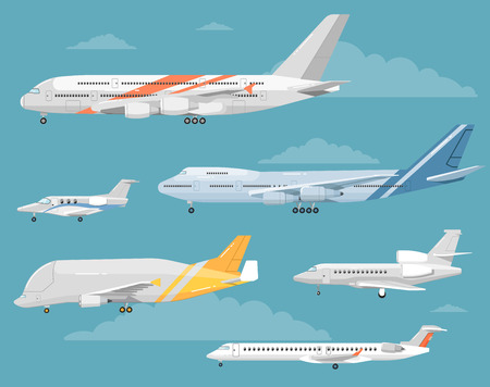 jets: Modern types of aircraft. Airliners, personal jets, cargo plane vector illustrations on blue background with clouds. Collection of reactive passenger and airfreighter planes. For airline ad design