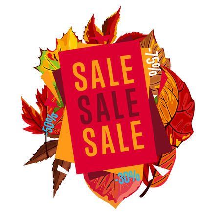 proposition: Autumn sale design template, vector illustration. Sale proposition banner with colorful leaves on white background. Advertisement about autumnal discount. Poster design for shop