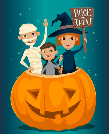 Kids in Halloween costumes mummies, vampire and witches are sitting in a pumpkin with sign Trick or Treat. Kids in Halloween festive design concept. Beggars Night october holiday. All Hallows Evening. Illustration