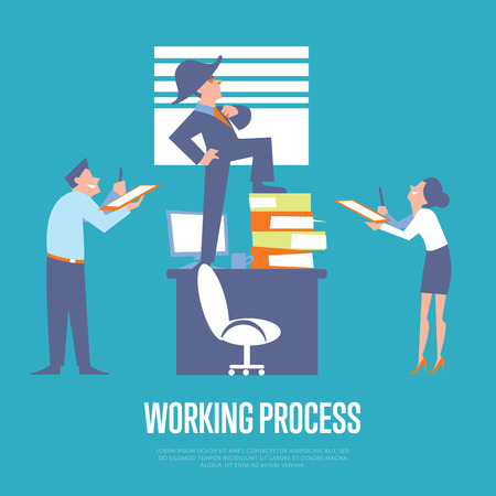 subordinate: Big boss in business suit and napoleon hat standing on office table before subordinate workers. Working process banner, isolated vector illustration on blue background. Office life. Teamwork concept