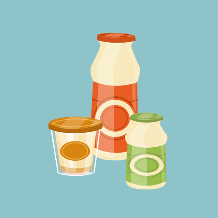 assortment: Assortment of dairy products isolated on blue background, vector illustration. Nutritious and healthy milk products. Natural and healthy food. Organic farmers products. Dairy icon. Illustration