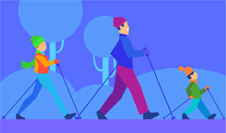 family park: Ski with family. Man walking on skis with wife and son in park or forest vector illustration. Winter entertainments, outdoor recreation, activity and sport concept. Weekend nature trip with relatives Illustration