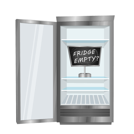frig: Empty fridge. Commercial freezer with opened door, empty shelves and board with text inside vector illustration isolated on white background. Deficiency of cold drinks in hot weather. Food shortage