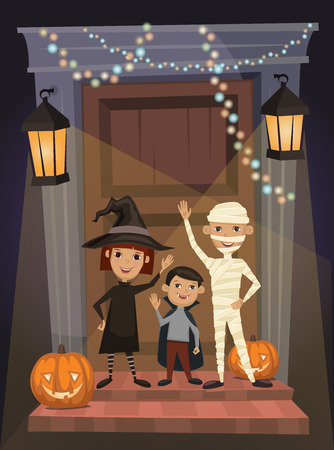 beggars: Children in vampire costumes, witches and mummies stand on threshold of the house on the Halloween night. Beggars Night october holiday. All Hallows Evening. Cartoon vector illustration. Illustration
