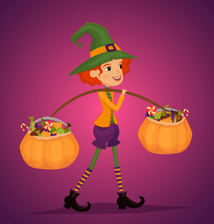 Cartoon girl in Halloween costume with hat magician comes with treats in pumpkin vector illustrations. Halloween kid concept. Beggars Night holiday. All Hallows Evening. Cartoon vector illustration.