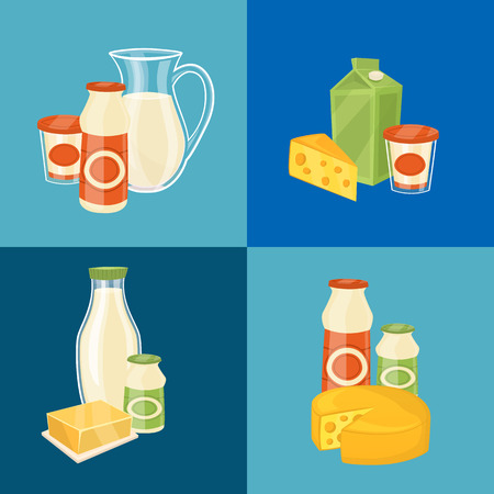 assortment: Assortment of different dairy products, isolated square composition on blue background, vector illustration. Nutritious and natural healthy food. Organic farmers products concept. Dairy icons. Illustration