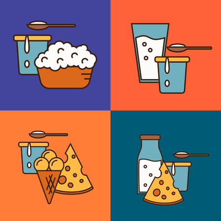 assortment: Assortment of different dairy products, isolated square composition on color background, vector illustration in line style design. Traditional and healthy products. Organic farming. Natural food