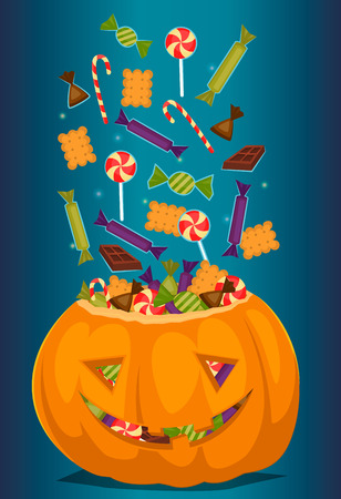 Halloween pumpkin full of candy treats. Cartoon pumpkin. Symbol of halloween design concept. Beggars Night october holiday. All Hallows Evening. Cartoon vector illustration.