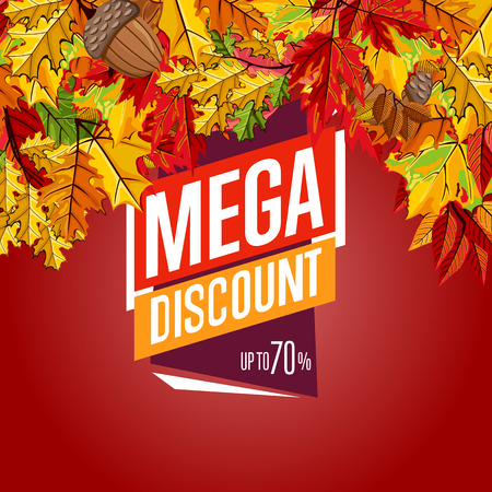 incredible: Autumn sale design template, vector illustration. Mega discount banner with colorful leaves on red background. Advertisement about autumnal discount. Incredible sale proposition concept