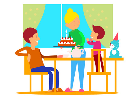 bash: Childs first birthday celebrationt. Mother puts decorated tier cake with candle on table, glad father and birthday boy on chairs flat vector illustration. Family circle home party. Joy of childhood