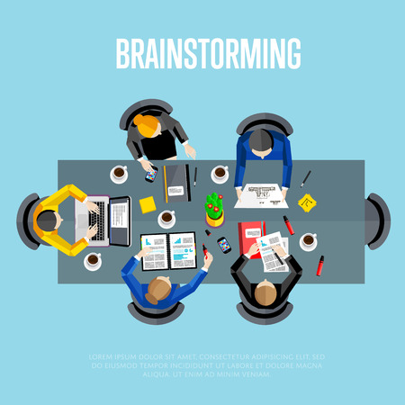 idea generation: Brainstorming concept. Workspace background, vector illustration. Top view of group of five people sitting in conference room and brainstorming on business meeting. Creative people, idea generation.