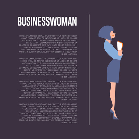 businesswoman suit: Pretty young beautiful businesswoman in elegant blue suit holding documents, isolated vector illustration on perpl background. Business background with space for text.