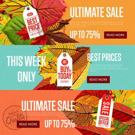ultimate: Autumn seasonal sale website templates, vector illustration. Ultimate sale this week only. Best price posters on color background with autumn leaves. White price tag with red text. Autumnal discount
