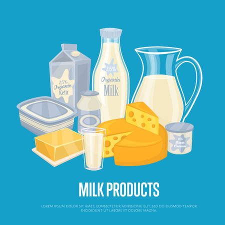 milk products: Milk products banner with dairy composition isolated on blue background, vector illustration. Healthy nutritious concept with butter, eggs, milk, cream, yoghurt, cheese, kefir. Organic farming.