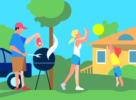 the courtyard: Resting with family on back yard. Father cooks meat on grill on courtyard near house, girl and boy playing with ball on lawn flat vector. Spending weekend with relatives. Family values concept