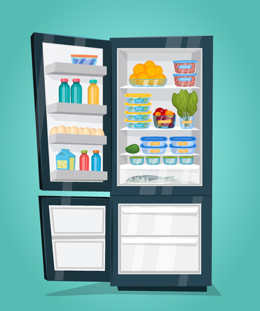 nutrients: Refrigerator full of food. Opened fridge filled with daily products vector illustration. Saving freshness of products. Space organization in freezer. Week nutrients supply. For diet concepts design Illustration