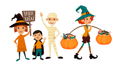 hallows: Kids in Halloween costumes mummies, vampire and witches with sign Trick or Treat. Kids in Halloween festive design concept. Beggars Night holiday. All Hallows Evening. Cartoon vector illustration. Illustration