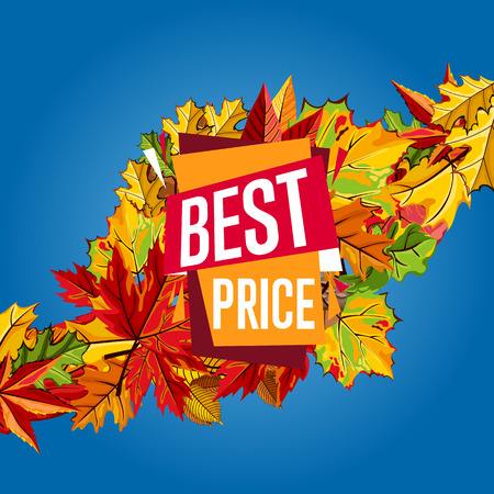 proposition: Autumn sale design template, vector illustration. Best price banner with colorful leaves on blue background. Advertisement about autumnal discount. Incredible sale proposition concept