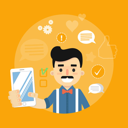 communication cartoon: Smiling cartoon man holding smartphone on yellow background with communication icons, vector illustration. Social media concept. Connecting people, social networking, virtual communication Illustration