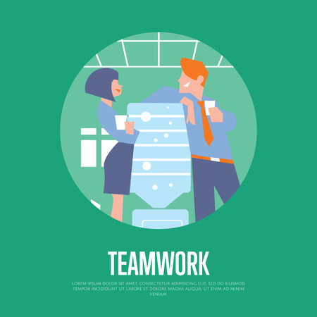 office team: Business colleagues speaking near water cooler in office. Teamwork banner, vector illustration. Coworkers talking. Business people. Office life. Corporate culture. Work relationships concept