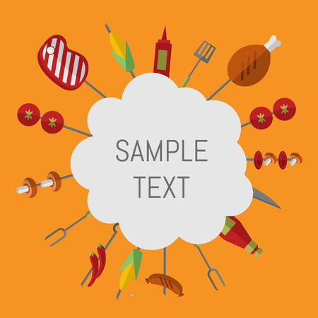 barbecue grill: Vector illustration barbecue grill card. Skewers with meat and vegetables, ketchup and grill tools around white space for text on orange background. Food banner. BBQ party invitation in flat style. Illustration