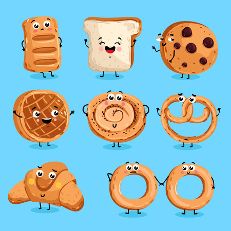 Cartoon funny bakery characters isolated vector illustration. Funny food face icon. Bakery emoji. Funny cookies, laughing bread. Cartoon emoticon face of food. Gloomy croissant, pretzel shy. Vettoriali