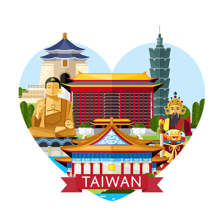 Taiwan travel banner with traditional and modern buildings on white background. Time to travel concept with famous attractions. Asian architecture in flat design. Worldwide traveling. Taiwan landmarks Vettoriali